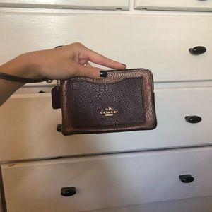 Coach Bags - Burgundy Coach Wristlet with Gold Detailing